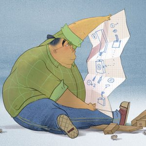 Cartoon image of a man trying to build a flat pack